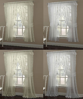 Priscilla Lace Window Curtain Panel Pair or Valance Scrolling Flower Pattern