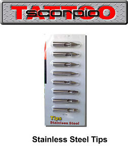 8pcs tattoo tips stainless steel popular size set ★OZ STOCK★