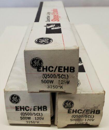 3 GE Stage Studio Quartzline Lamp Light Bulb EHC/EHB Q500/5CL 500W 120V 3150K