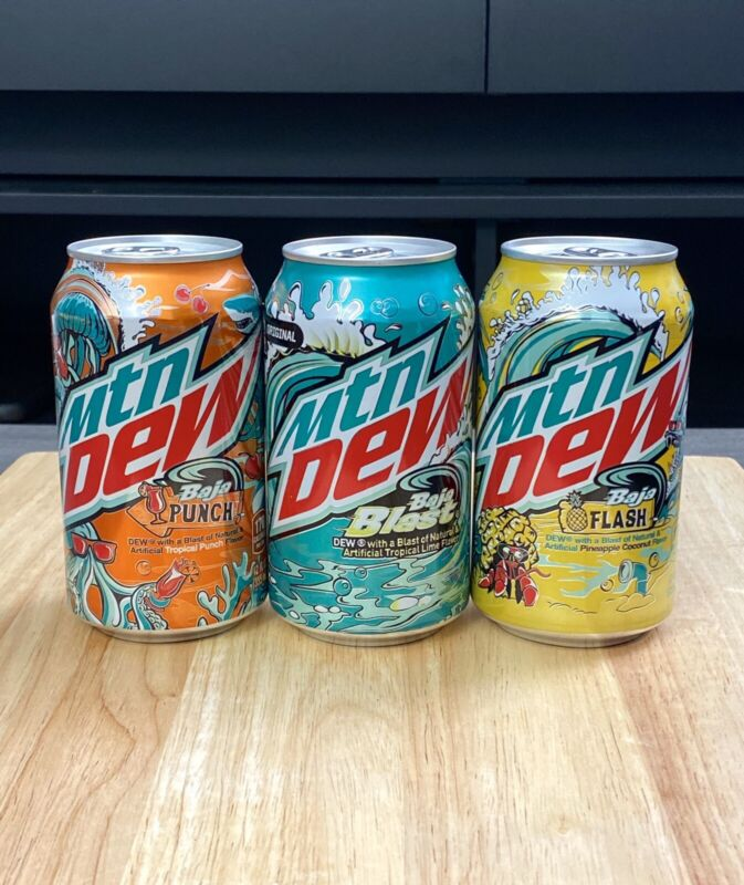 New 2021 Mountain Mtn Dew Baja Blast Punch and Flash Set of 3 cans