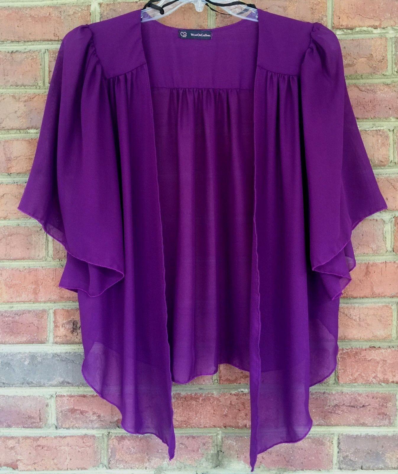 Plus Size Eggplant Purple Chiffon Cardigan Bolero Top WearOrGoBare ...