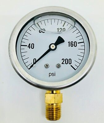 New In Box Hydraulic Liquid Filled Pressure Gauge 0-200 Psi