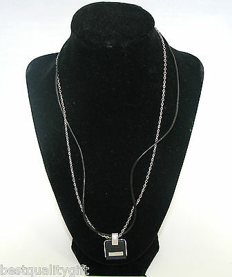 NEW EMPORIO ARMANI STAINLESS STEEL+BLACK LEATHER PENDANT NECKLACE EGS1253