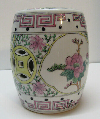 Small Garden Stool Pink Flowers Cut Out Circle Chinese Designs Vintage Small Circle Cut Outs