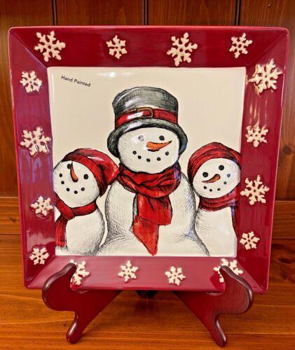 "St. Nicholas Square Yuletide  10 3/8"" Dinner Plate Platter Snowman"