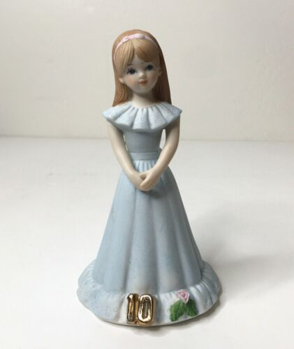 Enesco 1982 Birthday Growing Up Girls Age 10 Brunette Porcelain Figurine