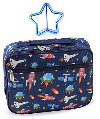 cc133a177f Boy s Insulated Kids Space Rocket Lunch Box Bag in Navy Blue   Sandwich  Cutter - Boy