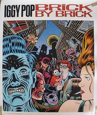 RARE IGGY POP BRICK BY BRICK 1990 VINTAGE 2 SIDE MUSIC RECORD STORE PROMO POSTER