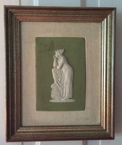 Antique Framed Wedgwood Green Jasperware Plaque Tile Muse Greek Goddess 19th c.