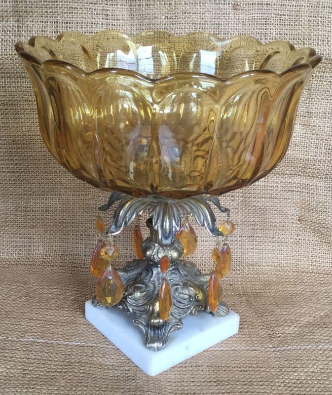 OLD VTG ANTIQUE AMBER GLASS PRISM MARBLE BASE BOWL DECORATIVE CENTER PIECE