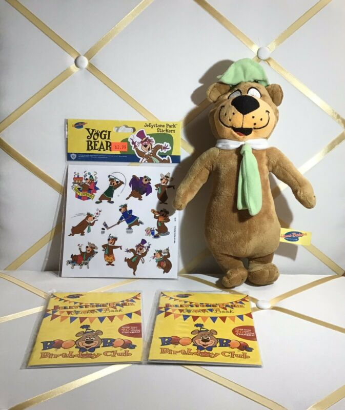 "Hanna Barbera Yogi Bear Stuffed Animal Plush 12"",Stickers! Invitations!"