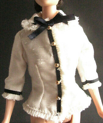 TOP MATTEL BARBIE DOLL CITY SPRING IN TOKYO WHITE NAVY BLUE FRINGE JACKET BLOUSE