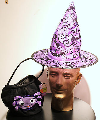 2-set Witch's Hat & Trick-or-treat Bag Halloween Girls Child Kids Costume