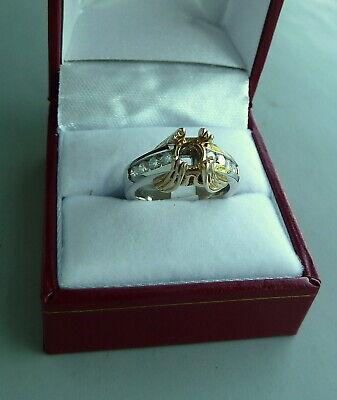 14K TWO TONE DIAMOND SEMI-MOUNT ENGAGEMENT RING 0.57 TCW