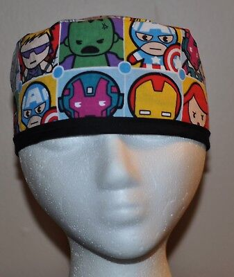 Men's Marvel Kawaii Gray Superhero/Avengers Scrub Cap/Hat - One size fits most - Superhero Uniforms