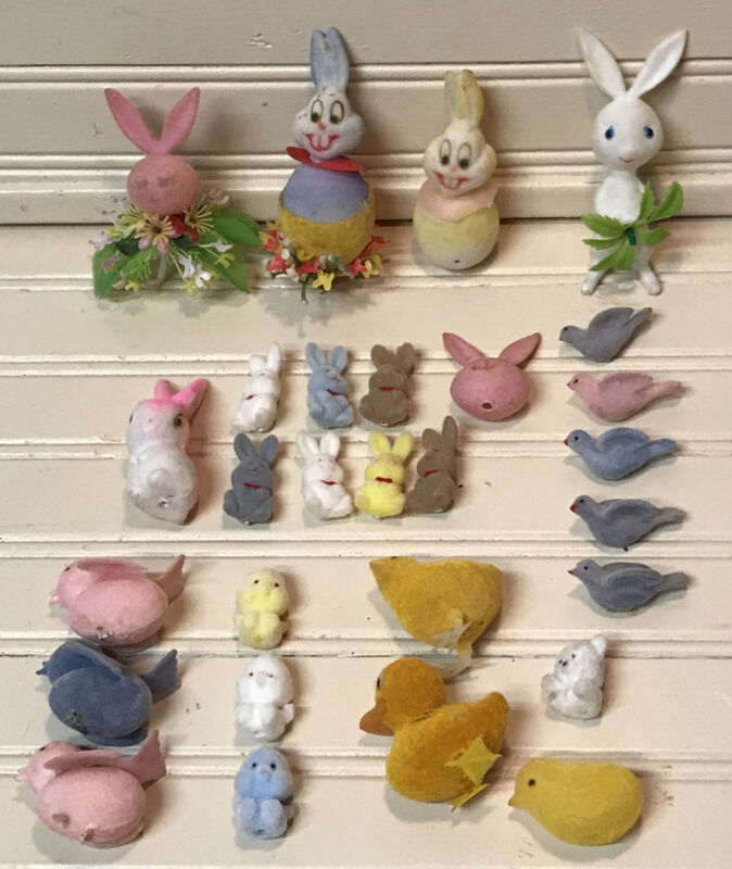 28 Vintage Flocked Easter Bunny Birds Chicks Ornaments Crafting Decorations