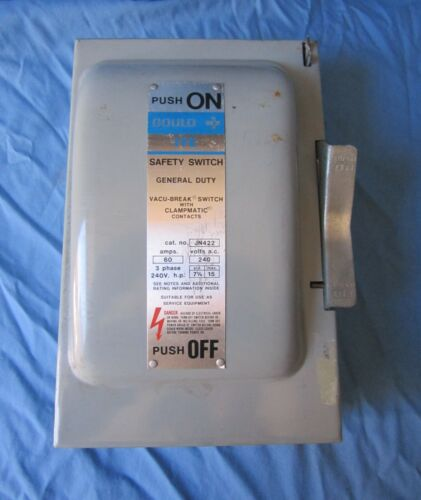 Ite Gould JN422 60 Amp Fusible Safety Switch 240 Volt 3 Ph N-1