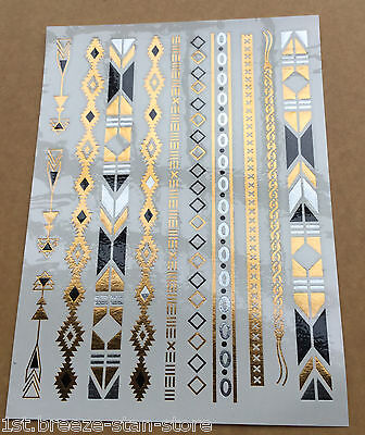 1Sheet Temporary Metallic Waterproof Tattoo Gold Silver Black Flash favorite  on Rummage