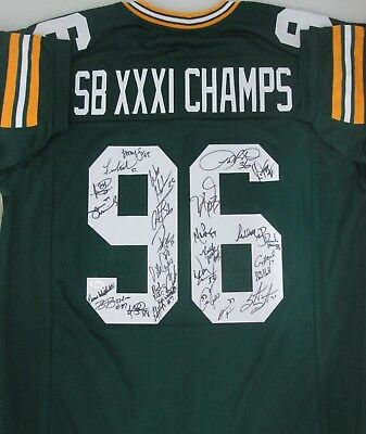 (Packers SB XXXI TEAM Signed Custom Rep Jersey AUTO w/ 28 Sigs BUTLER LEVENS+ JSA)