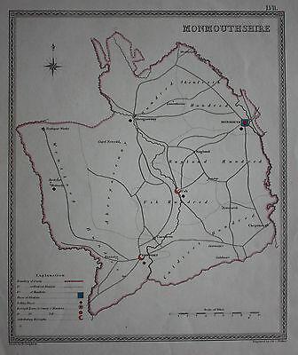 Original antique map MONMOUTHSHIRE POLITICAL Samuel Lewis, J&C Walker, c.1835