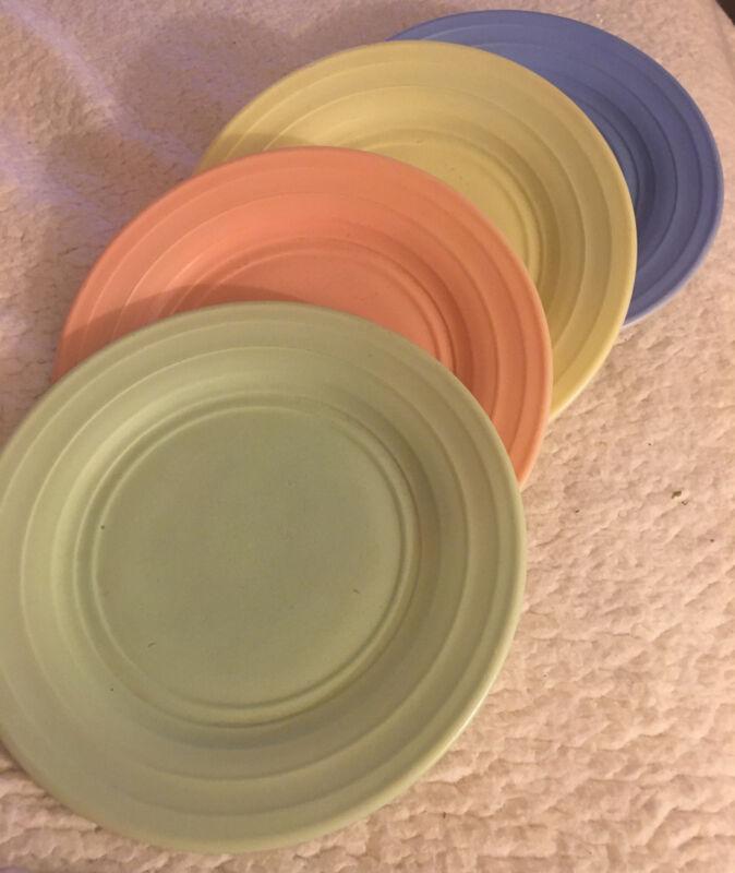 "Vintage Moderntone Pastel Set Of Four (4) 7"" Plates Beautiful!!!!"