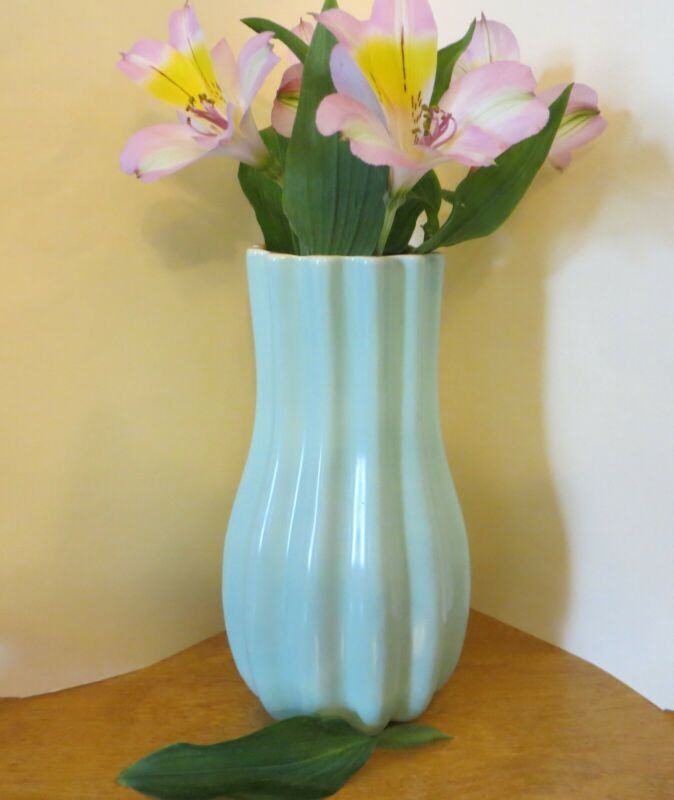Vintage Catalina Pottery Vase Turquoise/Coral Aqua Blue