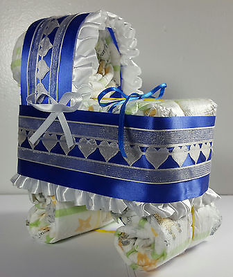 Diaper Cake Bassinet Carriage Baby Shower Gift Boy - Royal Blue and Ivory Hearts](Baby Shower Diaper Cake)