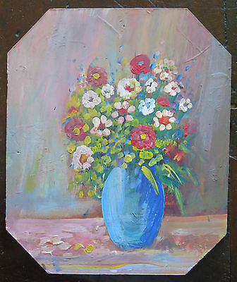 Bouquet Flowers Style Impressionist Painting Antique Painting oil On Board V