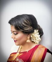 Hairstyle, makeup and saree pleating (dressing, ironing)