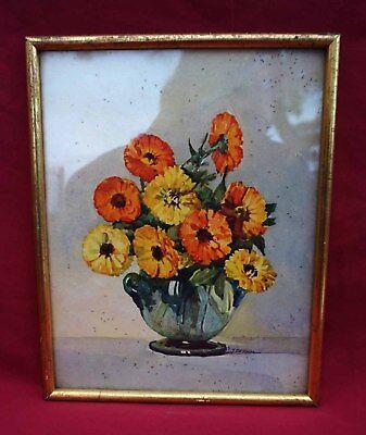 Vintage J Philippe Nicolas Markovitch Flowers Marigold Framed