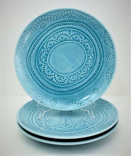 """3 Threshold Kennet Azure Salad Plates 8 1/2"""" Target Blue"""