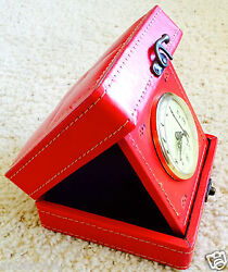 RED Hinged JEWELRY DESK Watch CLOCK Collectibles BOX Leatherette & Felt! L@@K!