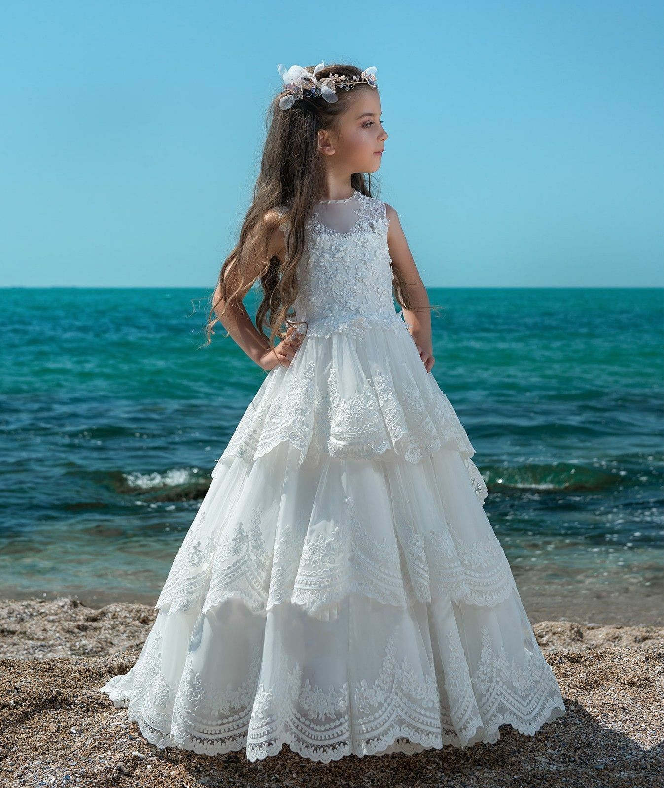 Elegant Flower Girl Dress Ivory Lace Applique Sleeveless Floor ...