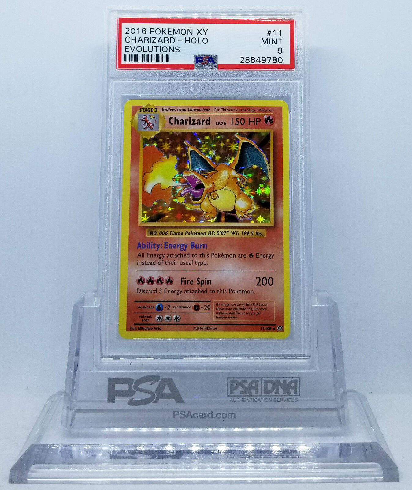 Pokemon XY EVOLUTIONS CHARIZARD #11 HOLO FOIL RARE CARD PSA 9 MINT #*