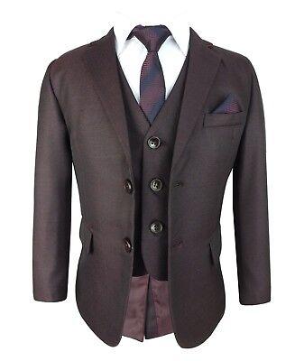 Boys Kids Burgundy 6 Piece Complete Suit Set for Wedding Prom Communion 1 to 15 (Communion Suit For Boys)