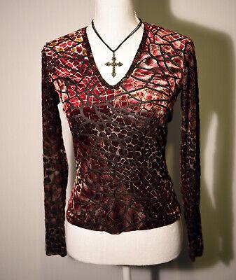 Burgundy & Black Velvet Karen Kane Thin Burnout Patterned Top Small Size 10