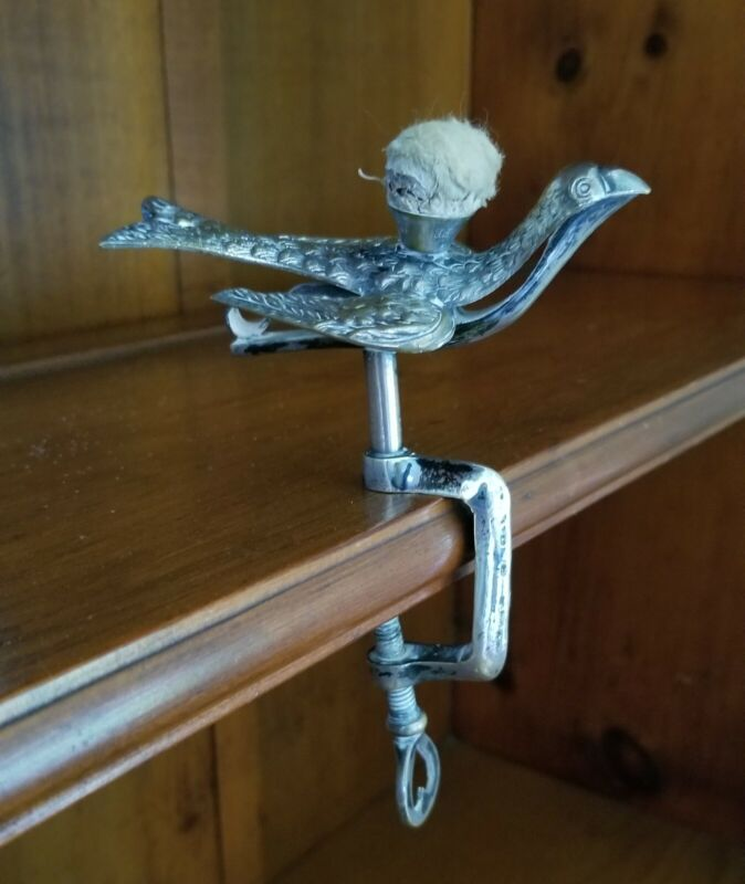 Antique Victorian Sewing Bird C Clamp Silver-plate Patent  1853