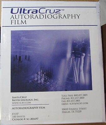 100-pack Ultracruz Autoradiography Film 8 X 10 Sheets E Blue X-ray Wb Sc-201697
