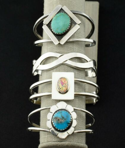 Lot of 4 - Mexican Old Pawn Sterling Silver Turquoise Cuff Bracelets