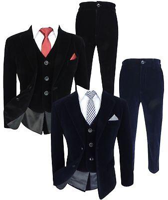 All in One Kids Slim Fit Samt Anzüge 6-teilig Jungen Anzug, Marine oder Schwarz