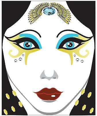 EGYPTIAN QUEEN FACE ART DECAL HALLOWEEN COSTUME MAKEUP TATTOO ACCESSORY GLHA9216