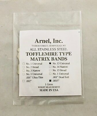 Tofflemire Stainless Steel Matrix Bands 13.0015 Universal Gross Pk 144 Dental