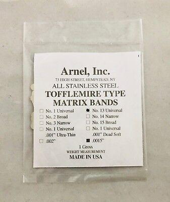 Tofflemire Stainless Steel Matrix Bands 13.0015 Universal Gross Pk 144 Dental