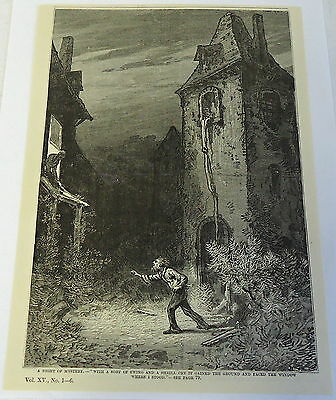 1883 magazine engraving ~ NIGHT OF MYSTERY, Man climbs down window for woman