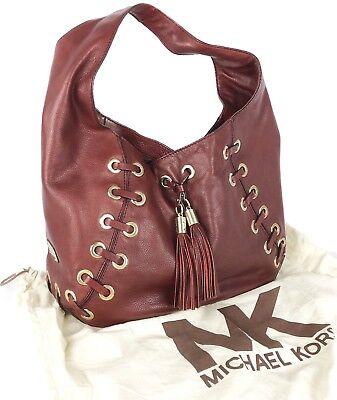 Michael Kors Astor Burgundy Leather Grommet Tassel Leather Hobo Shoulder Bag