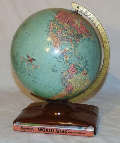 Replogle Globe Atlas Metal Stand Book Map 1950