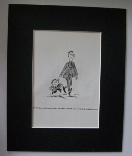 Child Cartoon Print Norman Thelwell Discipline Pull Ear Bookplate 1977 Matted