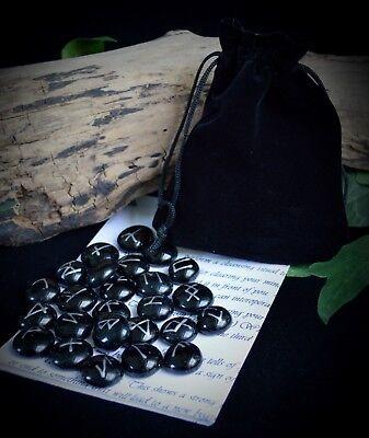 25 GLASS RUNE STONES & Velvet BAG Wicca Pagan Witchcraft Runes Divination