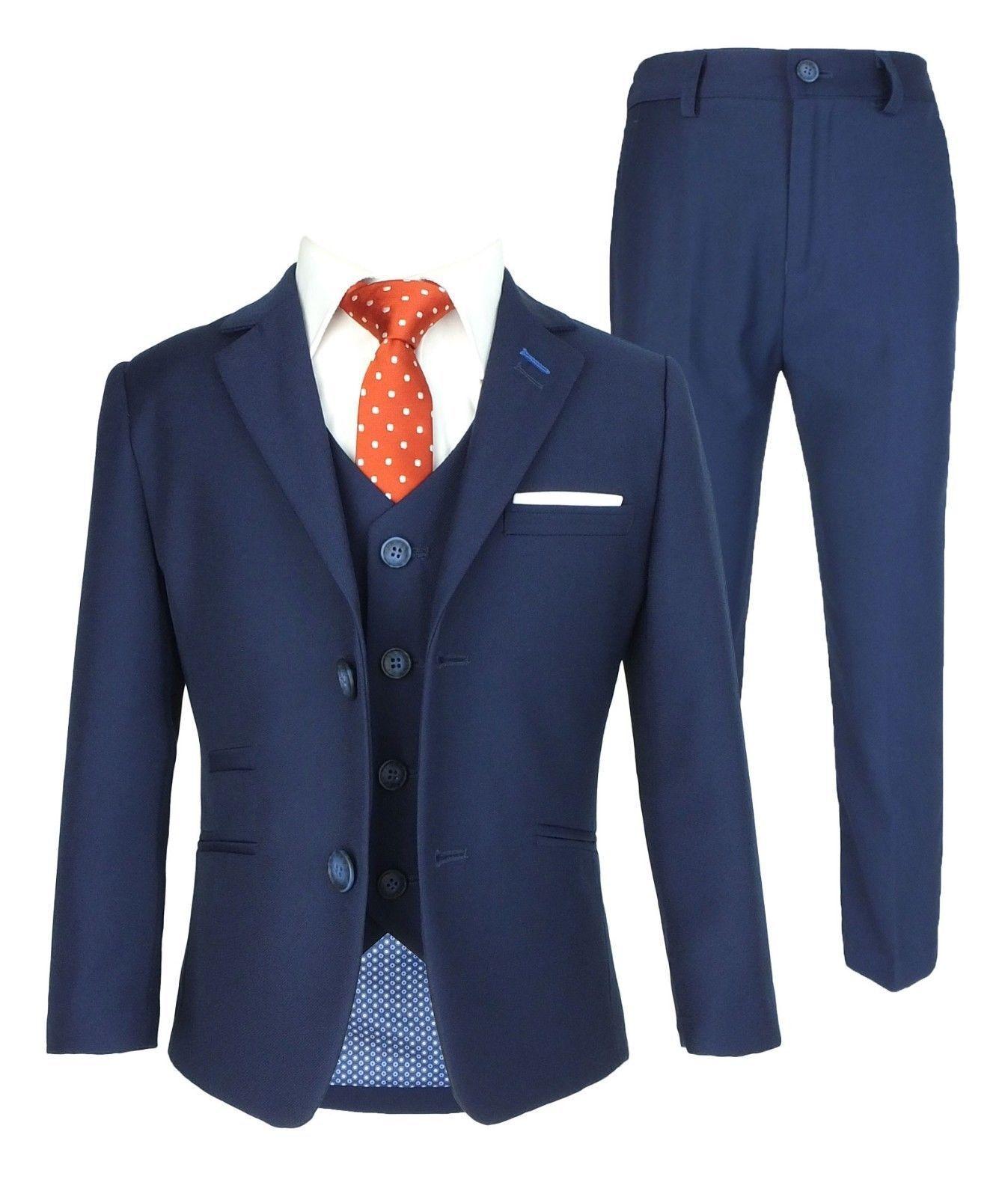 Designer Cavani Slim Fit Kinder Jungen Anzug, Marineblau, 3 oder 5 Teilig