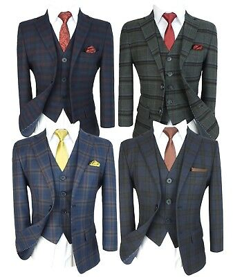 Boys English Check Suits Kids Checked Plaid Page Boy Wedding Prom Communion - Communion Suits Boys